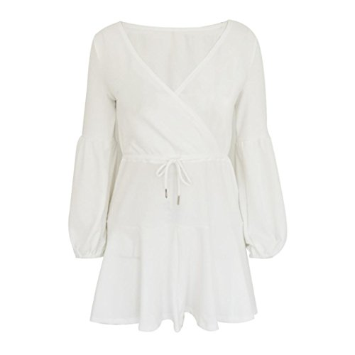 Suelto con Casual En Vestidos Manga Elegante Vendaje Mini Mujer V Cuello Verano Ansenesna Blanco Vestido Manera Plisada Falda 2018 Camisola Larga FO4qx