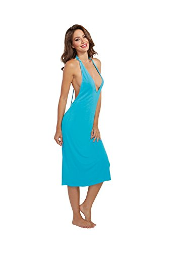 Dreamgirl Women's Cotton and Spandex Jersey T-Back Halter Sleep Gown with Venice Lace, Turquoise, X-Large
