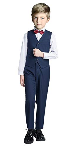 Boys Vest Set Formal Suit Tuxedo Pants Shirt and Tie Toddler Slim Fit 4 Piece Suits Blue Size 14