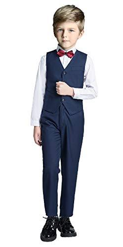 Boys Vest Set Formal Suit Tuxedo PantsShirtand Tie Toddler Slim Fit 4 Piece Suits Blue Size 14