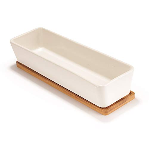 Succulent Pots - 1 Pot - Long Rectangle - with Bamboo Tray - White - 11
