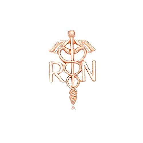 MANZHEN Medicine Caduceus RN Brooch Pins Registered Nurse Gift Brooches (rose gold)