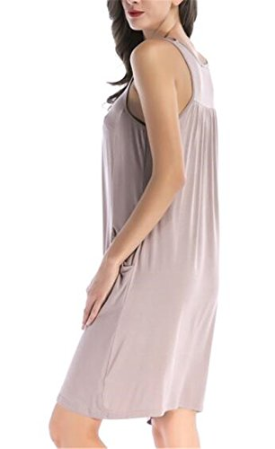 Vestiti Chemisier Senza Semplice Besthoo Estive Tinta Unita Tasche Con Al Donna Maniche Allentato Ginocchio Abiti Pink Dress Abito Vestito Da Femminili I29EDH