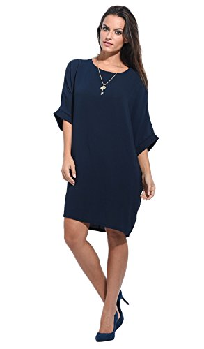 Anabelle Marine Robe Bleu Manches Loose Courtes Femme 4xUwr4RY