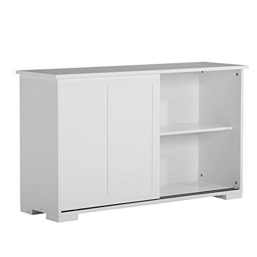 White Buffet Kitchen Cupboard Cabinet Sideboard W 2 Sliding Doors &1 Shelf for (2 Door Modern Hutch)