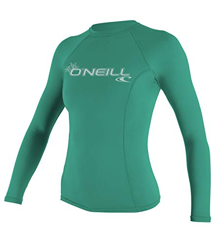 ONeill UV 50+ Sun Protection Womens Basic Skins Long Sleeve Crew Sun Shirt Rash Guard, Seaglass, X-Large