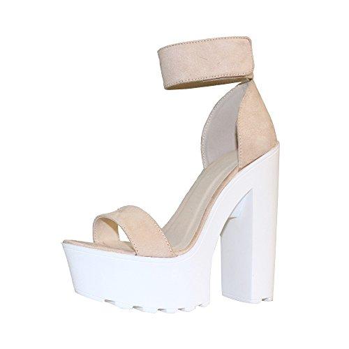 Chunky High Heel Sandals (OCHENTA Women's Fashion Platform Lug Sole Chunky High Heel Sandals Faux Suede Beige Tag Size 36 - US B(M) 5.5)