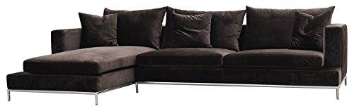 Soho Concept CPST-EV Simena Sectional Sofa with Chrome Plated Steel Tubes Base, Espresso Velvet (Soho Sectional Sofa)