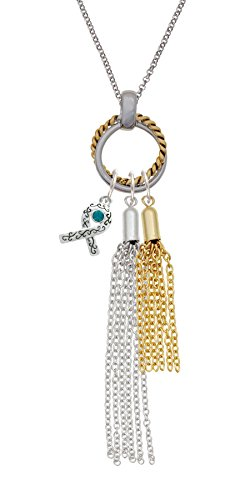 Silvertone Scroll Ribbon with Teal Crystal Long Two-tone Olivia Tassel -