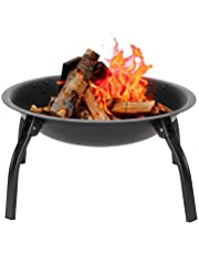 22-Inch Large Outdoor Brazier Camping Bonfire Pit Heater, Iron Terrace and Backyard Fire Pit with Spark Screen Poker Portable Foldable Wood Burning Black