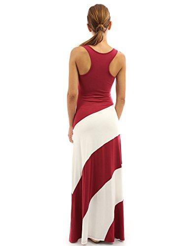 E Rosso vestito Bianco strisce Donne PattyBoutik maxi Avorio racerback YFnCpap7