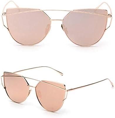 cd4529083 Womens Mirrored Flat Lens Metal Frame Cat Eye Sunglasses Gold Frame Pink  Lens