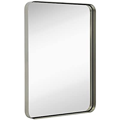 "Hamilton Hills Contemporary Brushed Metal Wall Mirror | Glass Panel Silver Framed Rounded Corner Deep Set Design | Mirrored Rectangle Hangs Horizontal or Vertical (22"" x 30"") - SOPHISTICATED DESIGN: Bring simple sophistication to any room with our 22"" x 30"" floating glass modern round corner silver metal framed mirror. Our simple brushed silver metal framed mirror is the perfect addition to various styles and design elements offering a contemporary finish. Our premium, large, rectangular, plate glass mirror floats in the frame surrounded by a thin 1/8"" gap. Clean simple edges the glass sits 1 1/4"" back in a deep 2"" silver brushed metal frame. SAFE AND EASY TO INSTALL: Our glass is safely custom inlaid and protected by the surrounding frame construction. The mirror is recessed into the deep frame and floated from the frame edges. The mirror comes with reinforced D-ring hanging clips as well as the wall hardware and screws to hang it both horizontally or vertically (landscape or portrait). 3 GENERATIONS OF EXCELLENCE: Our family has been manufacturing and producing mirrors for over 3 generations. We stand by the quality of our product and your experience. A family owned business with simple principles. Affordable quality from an American company with a 100% MONEY BACK SATISFACTION GUARANTEE. - bathroom-mirrors, bathroom-accessories, bathroom - 31JGhwdbs L. SS400  -"