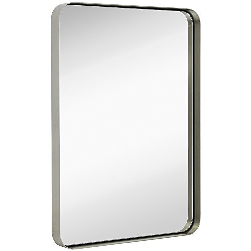 Hamilton Hills Contemporary Brushed Metal Wall Mirror | Glass Panel Silver Framed - Beveled Mirrors Bathroom Black