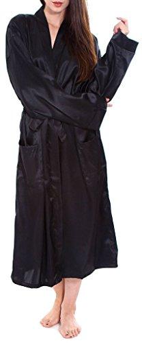 LRKC Unisex Classic Long Satin Kimono Sleepwear Lounge Robes, Black (Womens Plus Size Robes)