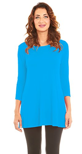 Sleeve Sleeve 3/4 Shorts Short - Women's 3/4 Sleeve Flowy Tunic Top, Wide Neck Lightweight, By Velucci (Turquoise-S)