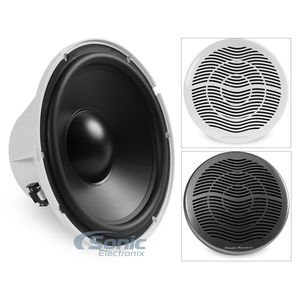 10'' MARN SUB, POWER ACOUSTIK MW_10WT Marine-Grade 10'' 600-Watt Subwoofer with White & Titanium Grilles, Marine-grade waterproof subwoofer, High-density ABS construction with UV coating, 100% waterp… by Power Acoustik