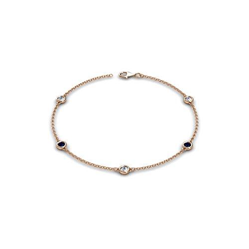 TriJewels 5 Stations Petite Blue Sapphire & Diamond Station Bracelet 0.50 cttw in 14K Rose Gold