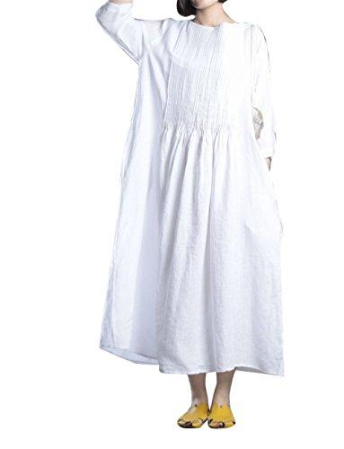 100% Linen Dress (Yesno J93 Women's Long Dresses Casual Large Skirt 3/4 Sleeve Pleated 100% Linen Blue)
