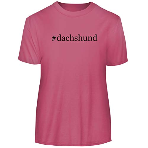 One Legging it Around #Dachshund - Hashtag Men's Funny Soft Adult Tee T-Shirt, Pink, ()