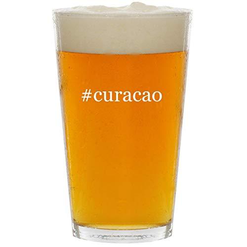 #curacao - Glass Hashtag 16oz Beer Pint (Blue Liqueur Bols Curacao)