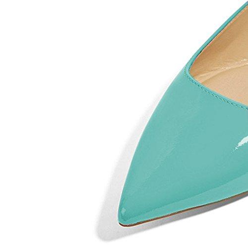Xyd Femmes Appartements Bout Pointu Occasionnels Glisser Sur Le Ballet En Cuir Verni Conduire Chaussures Habillées Mocassin Aqua