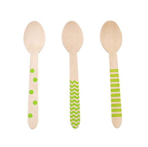 Green Spoons, Serving Spoons Silverware (Green 18 Count Wooden Spoons) - Stripe, Chevron & Polka Dot Biodegradable Spoons, Birthday Accessories, Party Packs, Wooden (Vintage Franciscan Ware)