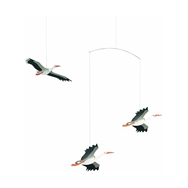 Flensted Mobiles Danish Lucky Storks Hanging Mobile – 18 Inches Cardboard