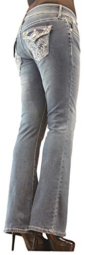 Project Indigo Women Jean Med Stone Crystal Embroidery Flap Back Pocket Boot Cut PJM171 (12) Blue