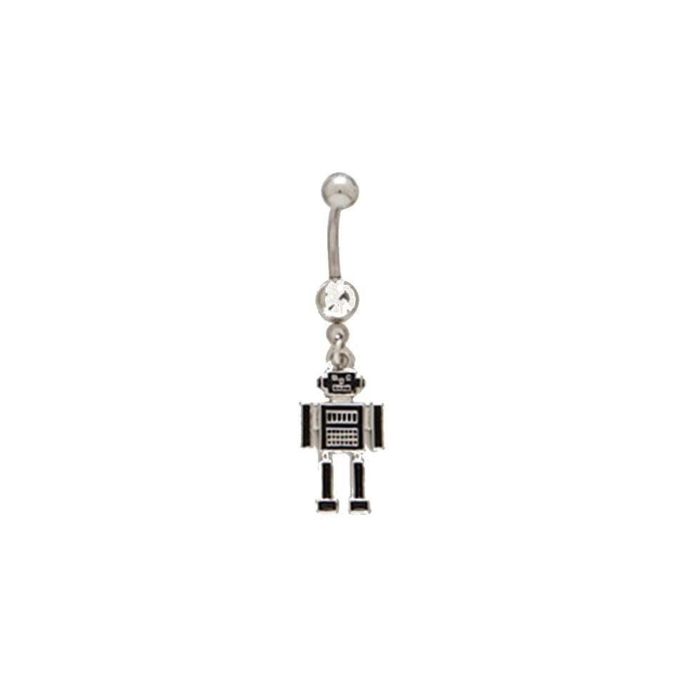 Black & Silver Robot w/Clear CZ Techi Dangle Belly Ring 316l Surgical Steel Body Jewelry