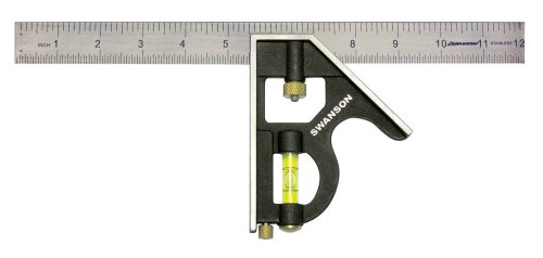 Swanson Tool TC132 12-Inch Combo Square (Cast Zinc Body, Stainless Steel Blade and Brass Bolt)