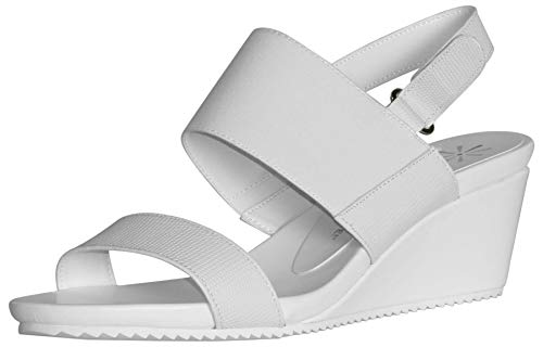 Isaac Mizrahi Live! Women's Aubrey Double Strap Wedge Sandals-White-12 from Isaac Mizrahi Live!