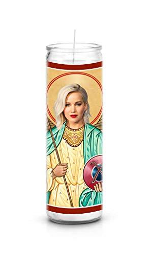 Celebrity Prayer Candles Jennifer Lawrence Funny Saint Candle - 8 inch Glass Prayer Votive - 100% Handmade in USA - Novelty Celebrity ()