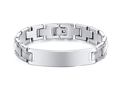 - Aokarry 12mm Width Stainless Steel Bangle Bracelet for Mens 20.5cm/8.2''-Silver