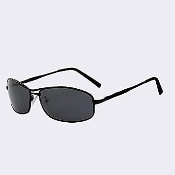 TIANLIANG04 Sonnenbrille Polarisierte Herren Retro Vintage Rechteck Sonnenbrille In Metall Herren der Fashion Designer Sonnenbrille Stecker UV-goggles400, Black w black