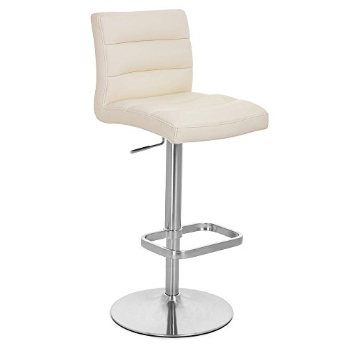 Zuri Furniture Cream Lush Adjustable Height Swivel Armless Bar Stool (Height Counter For Stool 36)