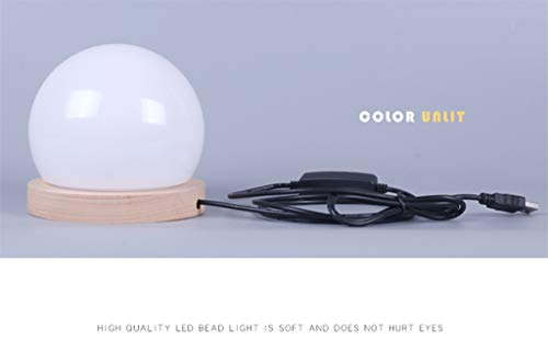lotus.flower Creative LED Ball lamp Wooden Base USB Adjustable Brightness Color Room Decorate (Yellow) by Lotus.flower (Image #6)