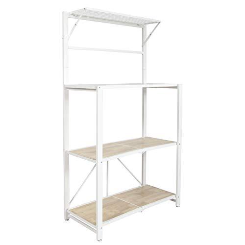 - Origami Folding 4-Tier Heavy Duty Steel Baker's Rack with Wood Shelf, White