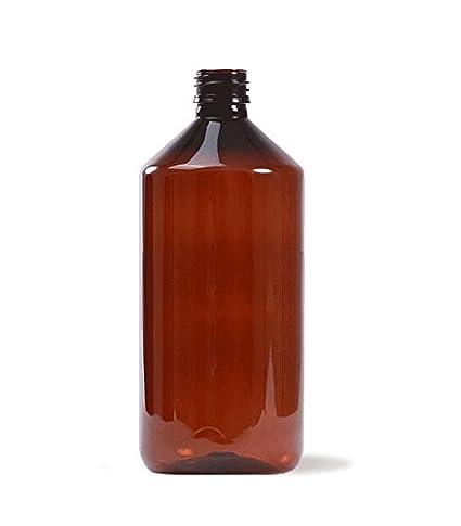 Botella plástico 1 Litro color ÁMBAR uso Farmacéutico y Alimentario - Tarifa Plana envíos