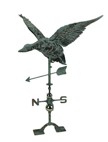 Things2Die4 Verdigris Patina Metal Flying Duck Weathervane with Roof Mount