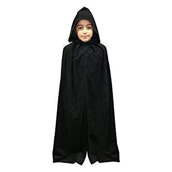 Cloak Kids Black Velvet Effect Fancy Dress Hooded Fancy Dress Cape