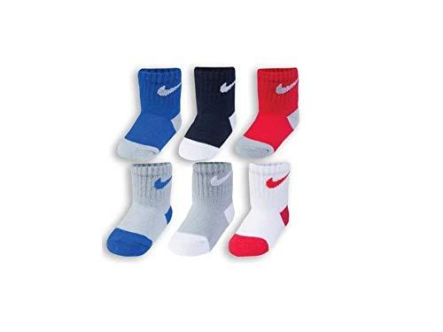 (Nike Baby Boys' Socks 6 Pairs, Size 3C-7C Shoe/3-4.5 Sock Size)