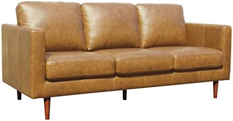 Amazon Brand Rivet Revolve Modern Leather Sofa Couch, 80 W, Caramel