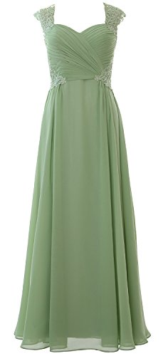 Women Dress Chiffon Prom MACloth Formal Gown Tea Green Party 2017 Wedding Sleeve Cap Long fndYYwqURC