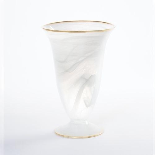 Vietri Alabaster Medium Footed Vase, White with Gold Edge