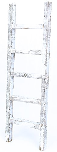 BarnwoodUSA Rustic 4 Foot Wooden Decorative Ladder - 100% Reclaimed Wood, White