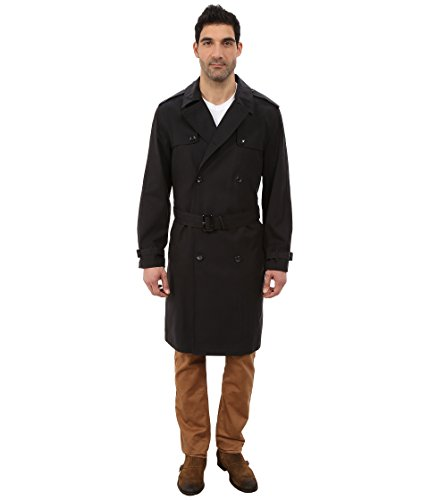 London Fog Men's Plymouth Double Breasted Trench Coat, Black (44R) (Belted Tweed Belt)