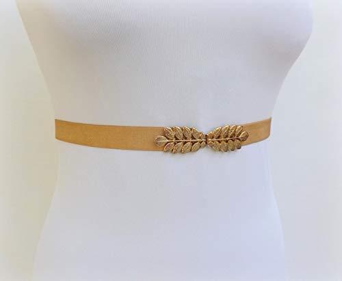 0.8 Womens Gray Elastic Gold Leaf Waist Belt