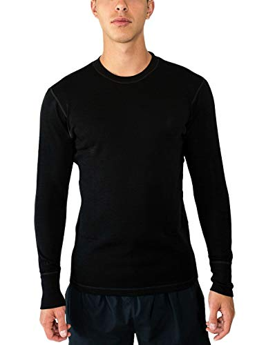 Woolx Mens Explorer Midweight Merino Wool Base Layer Crew Neck Top For Warmth, Black, Small ()