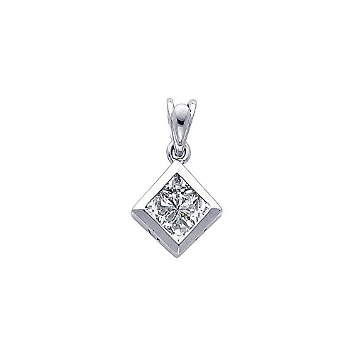 Designer Square Charms (Wellingsale 14K White Gold Polished Square Charm Pendant with CZ Accent)